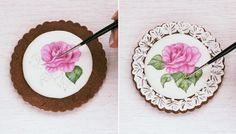 Colouring and shading flowers- Handpainted Rose Cookie [Step Rose Cookies, Sugar Cookies, Paint Cookies, Shade Flowers, Painted Cakes, Food For Thought, Cookie Decorating, Helpful Hints, Icing