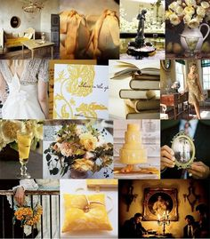 heirloom gold wedding inspiration board