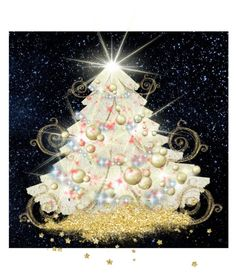 """""""Christmas Tree with Doilies"""" by izimaher on Polyvore featuring art"""