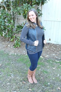 February Stitch Fix Review:  Fate Rowen Faux Leather Quilted Vest and Pixley Greenich Striped Knit Top