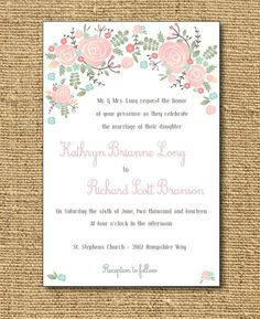 Digital Wedding Invitation Set  Painted Flowers   by PippiandScout