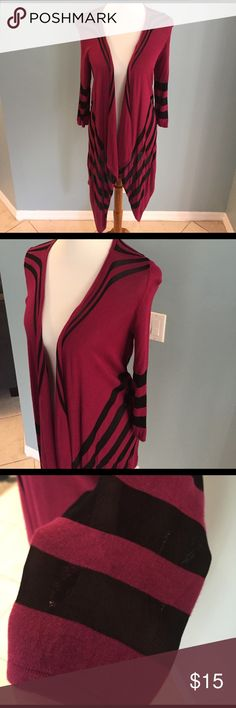 INC lightweight cardigan Soft and lightweight striped cardigan with assymetrical hem and 3/4 length sleeves.  Super versatile for many occasions.  Black stripes are mesh and somewhat see-through (as shown in pic).  Worn but in great condition. INC International Concepts Sweaters Cardigans