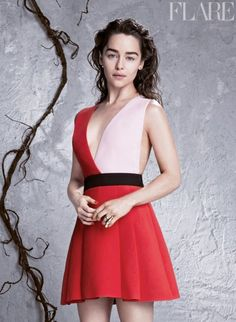 COVER FASHION CREDITS: Emilia Clarke wears a Burberry Prorsum top, skirt and shoes, a Dior ring and the stylist's own earrings. Photography: Nino Muñoz for stocklandmartel.com. Stylists: Kemal & Karla, The Wall Group. Hair: Jenny Cho, Suave Professional, The Wall Group. Makeup: Kate Lee, Chanel. Nails: Lisa Peña-Wong. Set design: Ali Gallagher, Jed Root. ON…