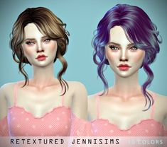Jenni Sims: Newsea Sweet Slumber and Newsea Josie Hairs retextures • Sims 4 Downloads