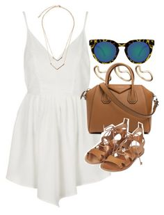 """""""Outfit for summer with a white playsuit"""" by ferned on Polyvore featuring Topshop, ASOS, Givenchy and Quay"""