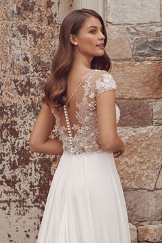 Justin Alexander - Style A-Line Dress with Beaded Trim Neckline and Chiffon Skirt Wedding Dress Styles, Dream Wedding Dresses, Wedding Gowns, Corsage, Plunging Neckline Style, Justin Alexander Bridal, Prom Dress Shopping, Bridal And Formal, A Line Gown