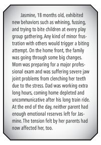 Throughout THE BITING SOLUTION, author Lisa Poelle provides examples of situations that result in children biting or hitting. This is an example of the many situations where a child reacts to family tensions with aggressive behavior. How to address such issues is explained by Poelle in her practical, realistic book from Parenting Press.