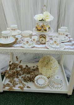 This is our Gold Deluxe High Tea Service. A lovely addition to a bridal or baby shower & available to be brought right to you! ☕🍰 #hightea #afternoontea #bridalshower #babyshower #white #gold #tea #coffee #cake #vintage #flowers #elegant #eventplanning #clock #ferrerorocher