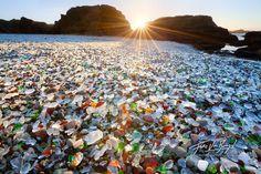 sunrise di Fort Bragg Beach Glass