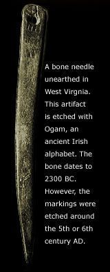 """A bone needle showing an Ogham Script, which is native to Early Christian Ireland found in West Virginia, and I'm still asking myself """"WHY HERE other than a proven Celtic burial """" ?????"""