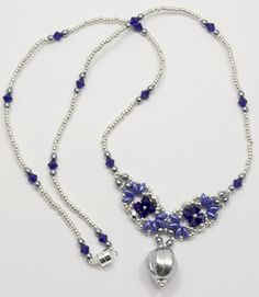 Deb Roberti's Eclipse Necklaces pattern done in cobalt and silver