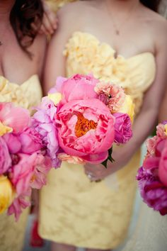 yellow & pink for bridesmaids