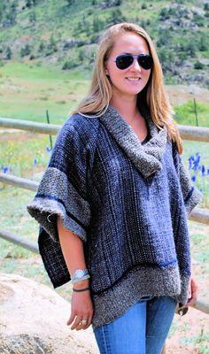Handwoven Alpaca & Llama Topper-handknit trim and collar, designed by Elaine sipes; your daily fiber, Colorado