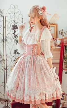 The Fairy Doll Vinateg Classic Lolita OP Dress,Lolita Dresses, Harajuku Fashion, Kawaii Fashion, Cute Fashion, Estilo Lolita, Pretty Outfits, Pretty Dresses, Cute Outfits, Fairy Outfits, Mori Girl