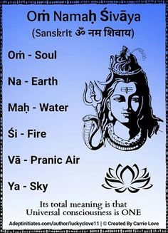 Oṁ Namaḥ Śivāya (Sanskrit ॐ नम शिवाय) is believed to be a powerful healing mantra, beneficial for all physical and mental ailments. Soulful recitation of this mantra, especially during meditation can bring peace to the heart and joy to the [Ātman] or soul Yoga Mantras, Sanskrit Mantras, Mantras Chakras, Meditation Mantra, Om Mantra, Hindu Mantras, Meditation Space, Positive Mantras, Sleep Mantra