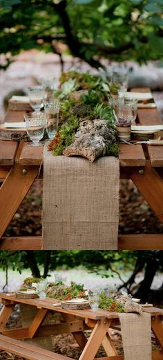 rustic succulent wedding reception decor; burlap runner with low pots of succulents - love it!