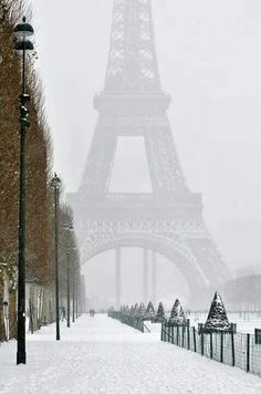 Eiffel Tower on a snowy day