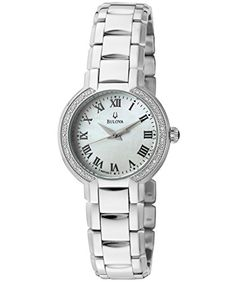 Bulova Womens 96R159 Fairlawn Silver ToneWhite Mother Of Pearl Patterned Stainless Steel Watch ** You can find out more details at the link of the image.
