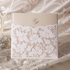 Renda floral de convite de casamento em branco( conjunto de 50) para impressão e personalizável atacado frete grátis