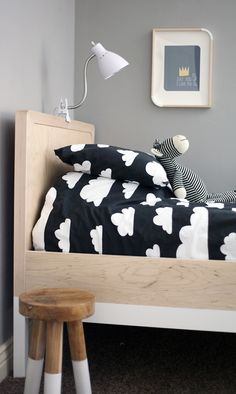 Black and white cloud bedding