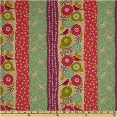 Echino Cotton/Linen Blend Canvas Floral Bird Stripe Purple/Green $20/yd