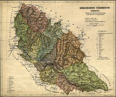 Máramaros vármegye (county), Kingdom of Hungary, 1910 Old Maps, Hungary, Vintage World Maps, Hospitals, Austria, Roots, Geography, Antique Maps