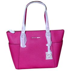 Pre-owned Michael Michael Kors Jet Set Leather Raspberry Tote Bag ($166) ❤ liked on Polyvore featuring bags, handbags, tote bags, raspberry, leather tote handbags, pink purse, genuine leather handbags, leather purse and leather handbags