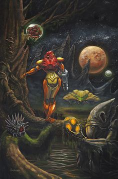 "(Metroid) ""Monlight of Zebes,"" Oil on canvas - Blake Packard"