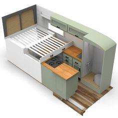 Van Conversion Interior, Camper Van Conversion Diy, Van Living, Tiny House Living, Minimaliste Tiny House, Build A Camper Van, Kombi Home, Van Home, Large Beds