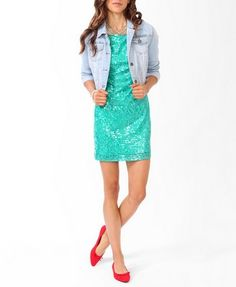 Sequined Sheath Dress w/jean jacket and pink pumps