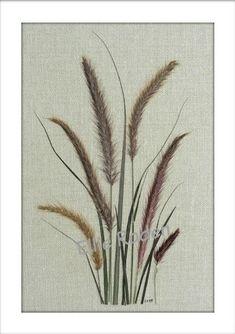 Pressed Flower Notecards Ornamental Grasses by VTPressedFlowers