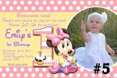 20 Printed Baby Minnie Mouse First Birthday Party Invitations