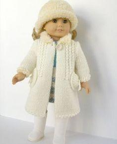 Winter Wonderland - white coat and hat - PDF knitting pattern for American Girl dolls