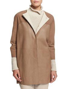 B32BV Loro Piana Garret Soft Nubuck Leather Topper Jacket, Walnut/Oats