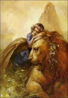 Who painted this dream of a lion and young girl with the shadow in the background?
