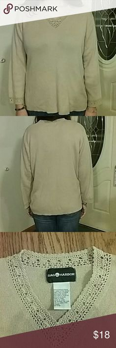 Comfy tan/beige sweater with crochet accents. This is a brand new sweater. Was a Christmas present and I've never worn it. Relaxed but sophisticated look. Fabric feels so soft! Great for casual office work, or staying warm by the fire.  Color is far better in person. 🚫 SMOKE FREE HOME ✔PET FRIENDLY HOME🐶🐱🐾🐾 Sag Harbor Sweaters V-Necks