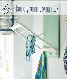 DIY Laundry Room Drying Rack-- put in garage for bathing suits & wet towels (Summer) and snow gear (winter)