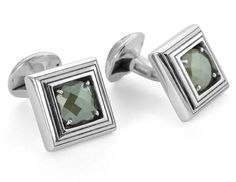 Tateossian.com - 18 KARAT PRECIOUS CUFFLINKS - Green Diamond  £5700 #tateossian #wedding #groom #bracelets