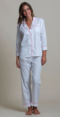 Classic Long Pajama Set -     The Marigot classic pajama set in fine 100% cotton poplin.   Custom Marigot button front detail with signature monogrammed sea horse on cuff.  Long sleeve shirt and drawstring waistband pant.   White with complimentary piping,     100% cotton