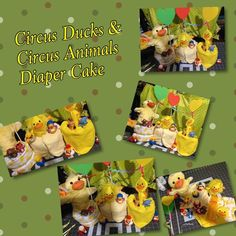 Circus ducks & animals diaper cake 4 animal finger puppets 6 circus ducks  Bottle Duck jacket  Duck onesie Duck wash cloth  Duck hand puppet 3 ribbon hearts  Duck shower scrub Diapers Other