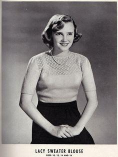 Free Vintage Knitting Pattern: Lacey Sweater Blouse Pattern