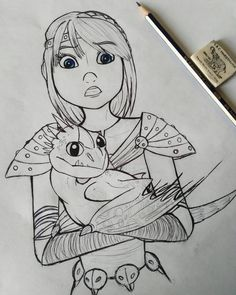 Astrid with a baby or portable Stormfly or just a baby Deadly Nadder maybe one of Stormfly's babies