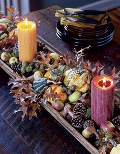 30 Pumpkin, Gourd & Fruit Centerpieces for Festive Fall Tablescapes {Saturday Inspiration & Ideas} - bystephanielynn Fruit Centerpieces, Thanksgiving Centerpieces, Centerpiece Ideas, Wedding Centerpieces, Fruits Decoration, Decoration Table, Wedding Decoration, Autumn Table, Autumn Decorating