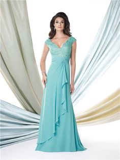 This is a FAVE!! A Line V Neck Cap Sleeve Turquoise Chiffon Lace Mother Of The Bride Evening Dress