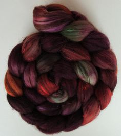 hand-dyed wool roving to spin