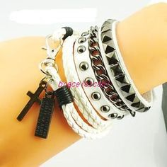 Punk Rock Style White Leather Bracelet Couple Bracelet Women Leather Bracelet