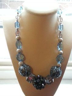 gorgeous blue grey and silver beaded necklace, made on sterling silver plated wire on Etsy, $16.00