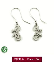 Recycled Stainless Steel Mountain Bike Earrings - Flower Pedal - Bicycle Jewelry - Bicycle Earrings