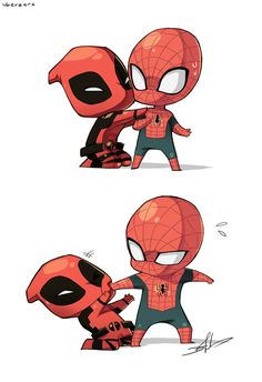 Suddenly I'm really into Spider-man and spent a whole weekend reading comics oh god. I like when Deadpool is around too. Spider-man and Deadpool Deadpool X Spiderman, Deadpool Chibi, All Spiderman, Batman, Spiderman Spiderman, Heros Comics, Marvel Dc Comics, Spideypool, Cartoon Memes