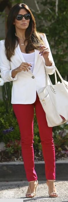 Who made Eva Longoria's red skinny jeans, gold jewelry, and black sunglasses?…